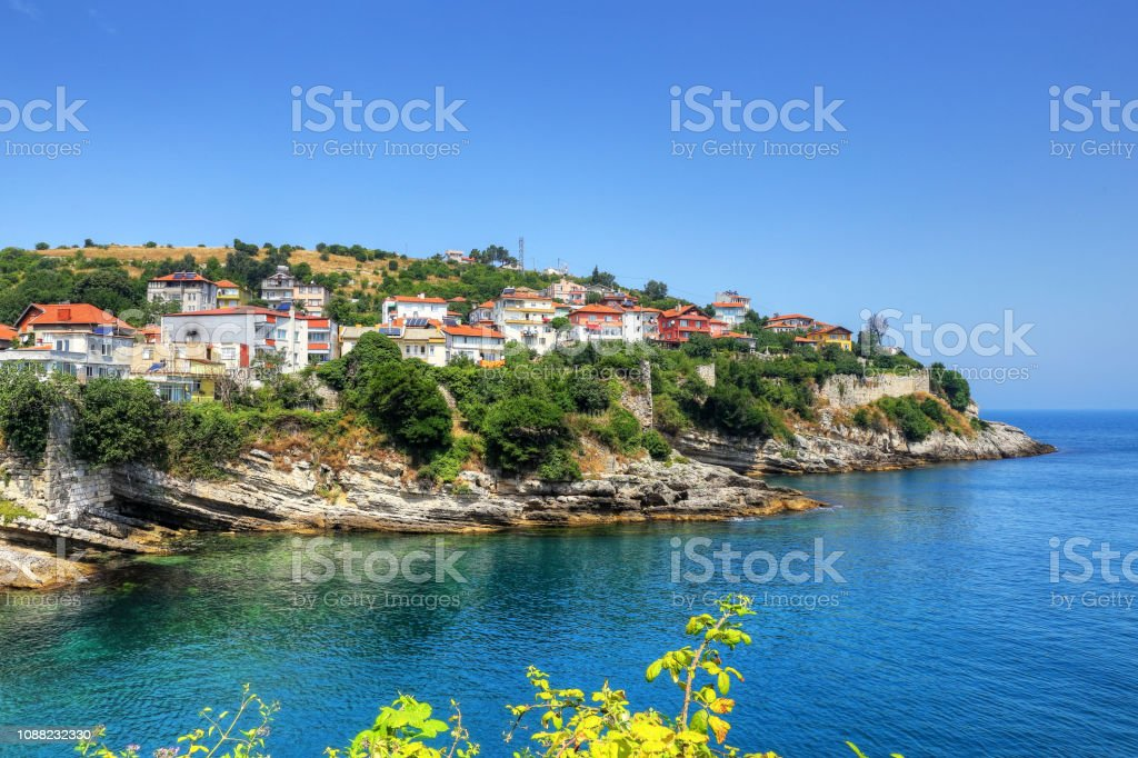Amasra şehir panoraması, Bartın, Türkiye, Karadeniz stok fotoğrafı