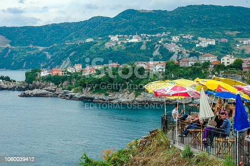 Bartin, Turkey. Amasra Famous Watching Cafe on Old Town, Turkey. This place known as