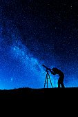 Female amateur astronomer looking through a refracting telescope at the night sky. Processed in AdobeRGB colorspace.