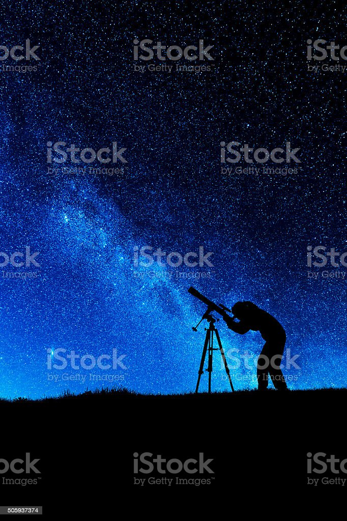 Amateur astronomer stock photo