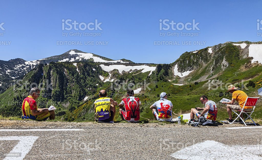Amateur Cyclists on Col de Pailheres royalty-free stock photo