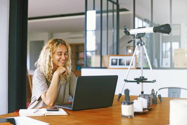 Amateur female scientist stock photo