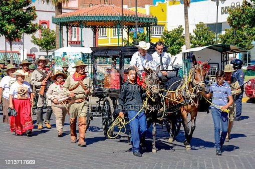 Parral, Chihuahua, Mexico, Jul 20 -- Amateur figures and actors evoke the life and death of the famous Mexican general Pancho Villa, hero of the Mexican revolution of 1910. Murdered in the city of Parral, in the northern state of Chihuahua, on July 20, 1923, Pancho Villa is still a symbol today. Every year in the city of Parral thousands of people attend the performance of the deeds of the famous Mexican general, in a free event that takes place in the streets of the town. In the image: The representation of the solemn funeral of General Villa