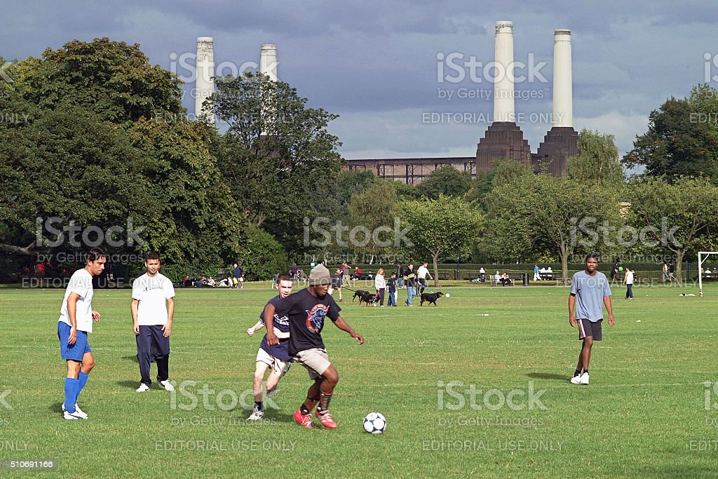 Amateur football, Battersea park, London stock photo