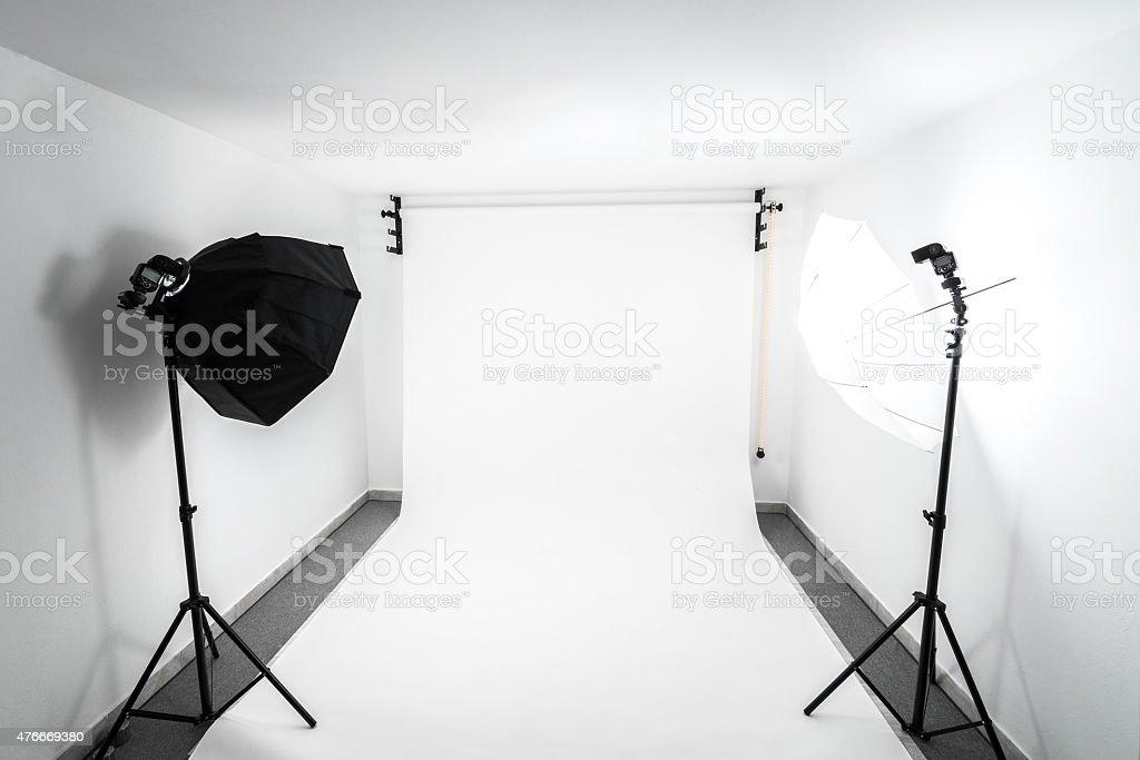 Amateur home made photo studio stock photo