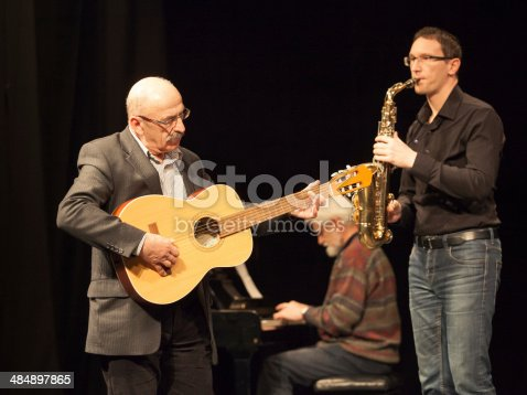 Amateur Jazz band performs on stage