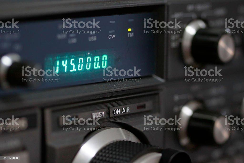Amateur radio station: closeup of an a radio transceiver stock photo