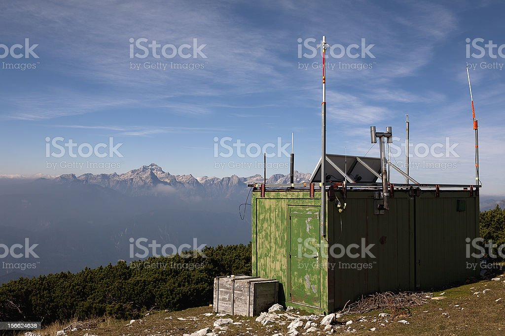Amateur radio station in the mountains royalty-free stock photo
