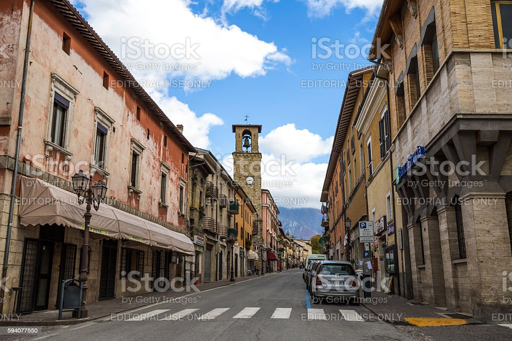 Amatrice in the province of Rieti, in Italy stock photo