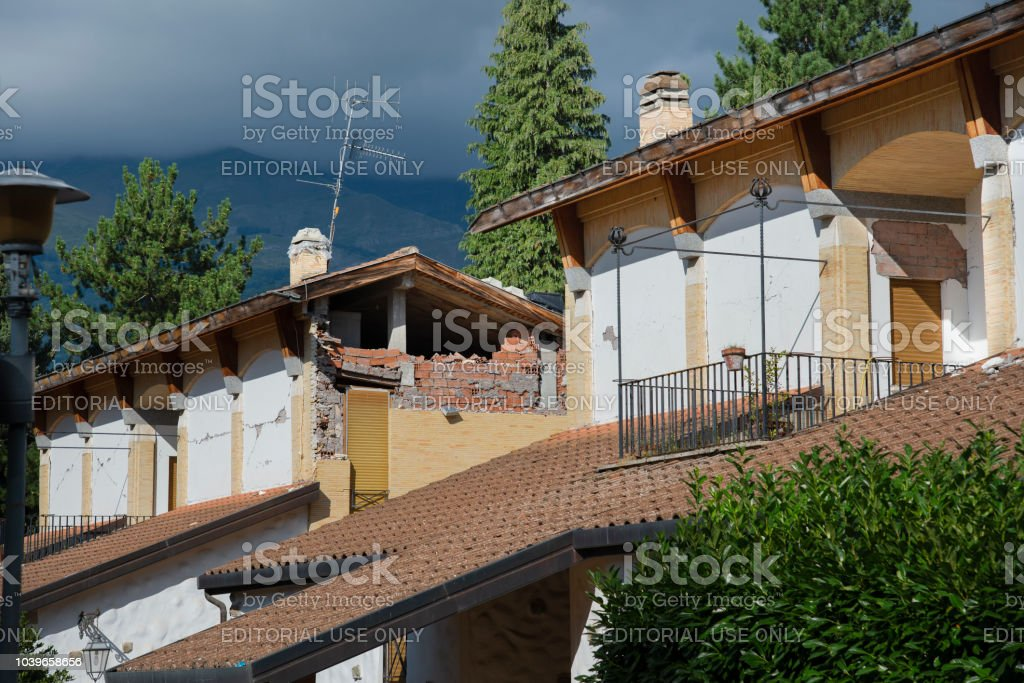 Amatrice - Italy, rubble due to the earthquake on  2016 stock photo