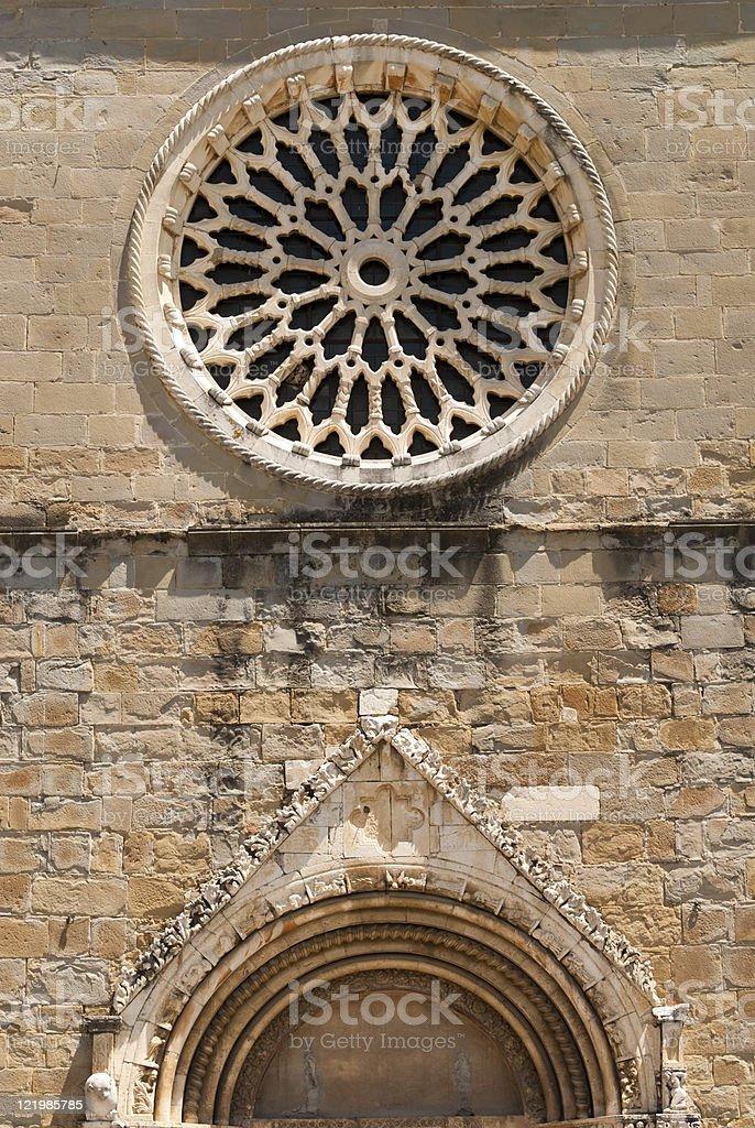 Amatrice (Lazio, Italy): Rose window of the cathedral stock photo