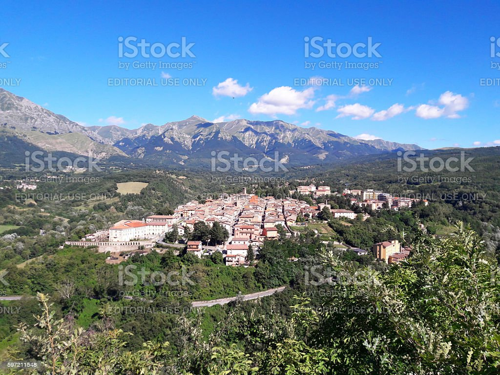 amatrice view from hill stock photo
