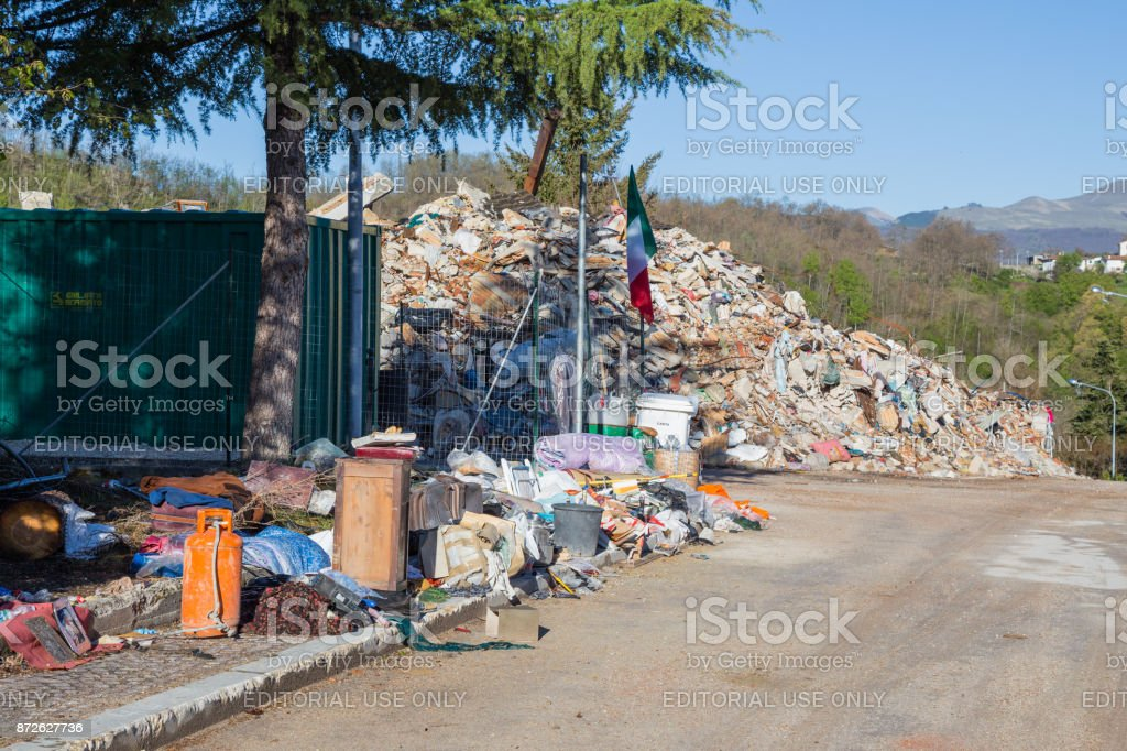 Amatrice,Italy,29 April 2017. The damage caused by the earthquake that hit central Italy in 2016. stock photo