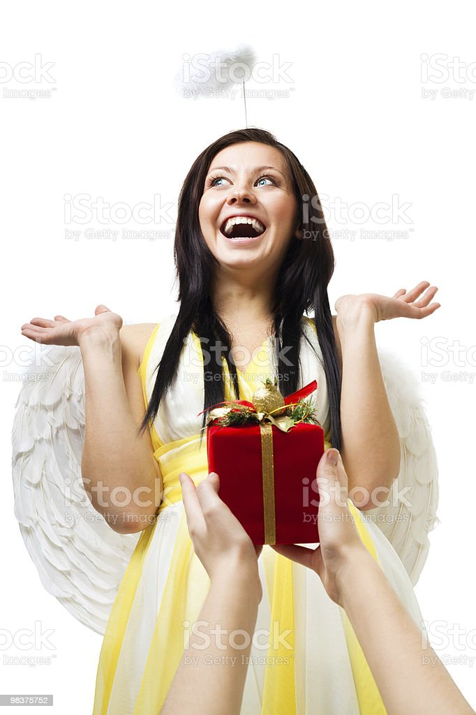 Amazed angel with wings and nimbus royalty-free stock photo
