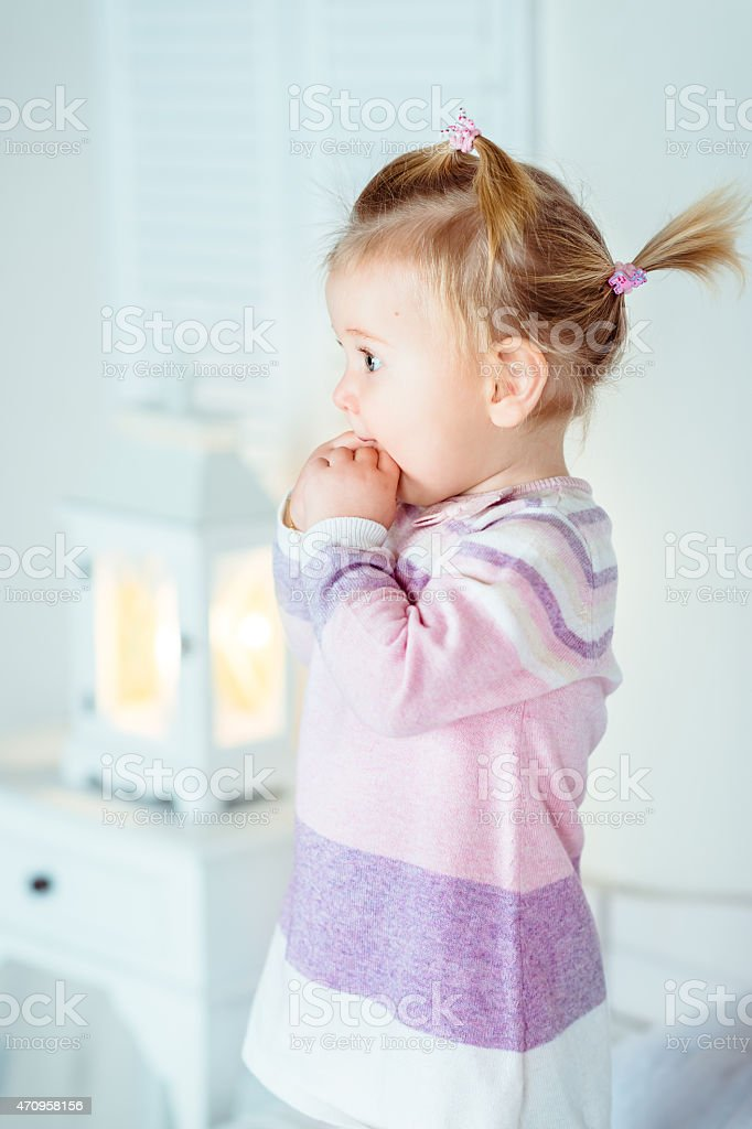 Awe Inspiring Amazed Blond Little Girl With Ponytail Staying On Bed Stock Photo Schematic Wiring Diagrams Amerangerunnerswayorg