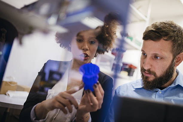 Amazed by 3D printing stock photo