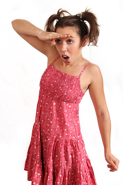 amazed girl Amazed girl in a pink dress dazzled stock pictures, royalty-free photos & images