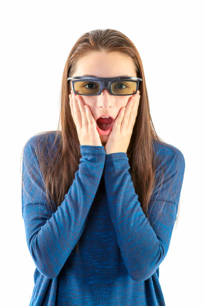 Amazed girl with 3d glasses stock photo