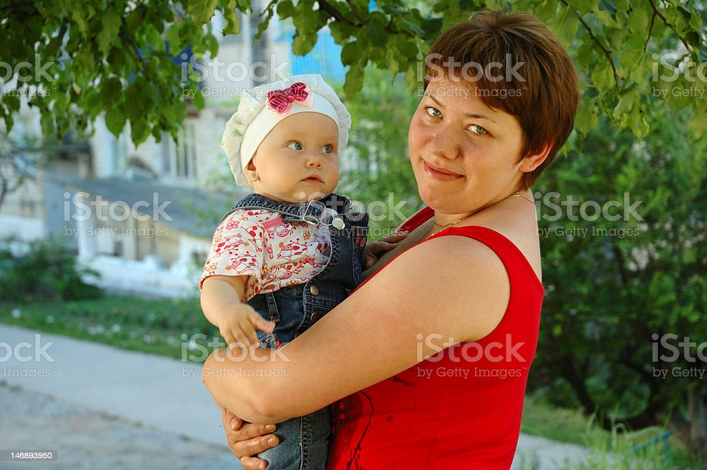 Amazed little girl and her mother. royalty-free stock photo