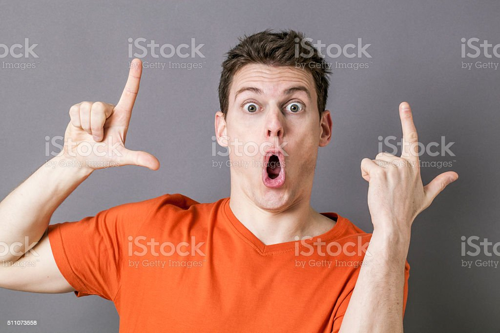 amazed LOL hand gesture to express silly disrespect stock photo