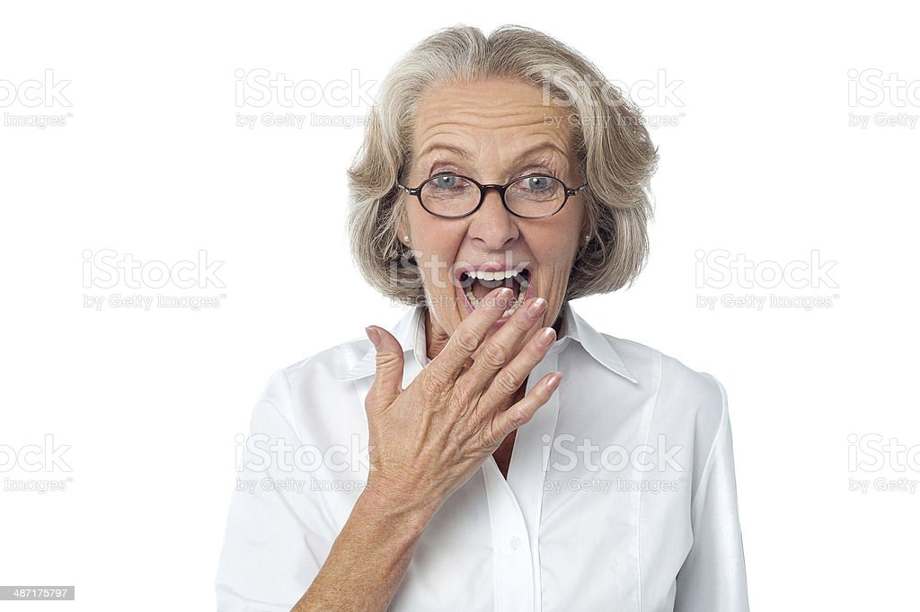 Amazed senior citizen stock photo