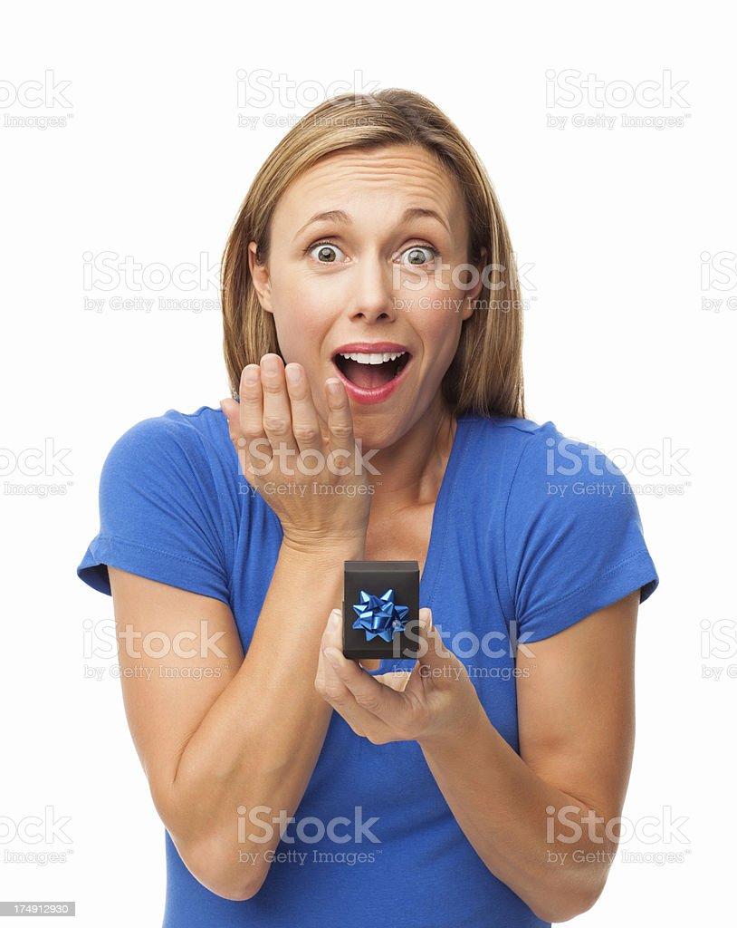 Amazed Woman Holding Small Gift Box - Isolated royalty-free stock photo