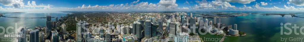 Amazing aerial Brickell Miami Florida large scale stock photo