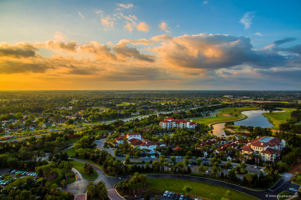 amazing aerial sunset panorama view - orlando florida photos stock photos and pictures