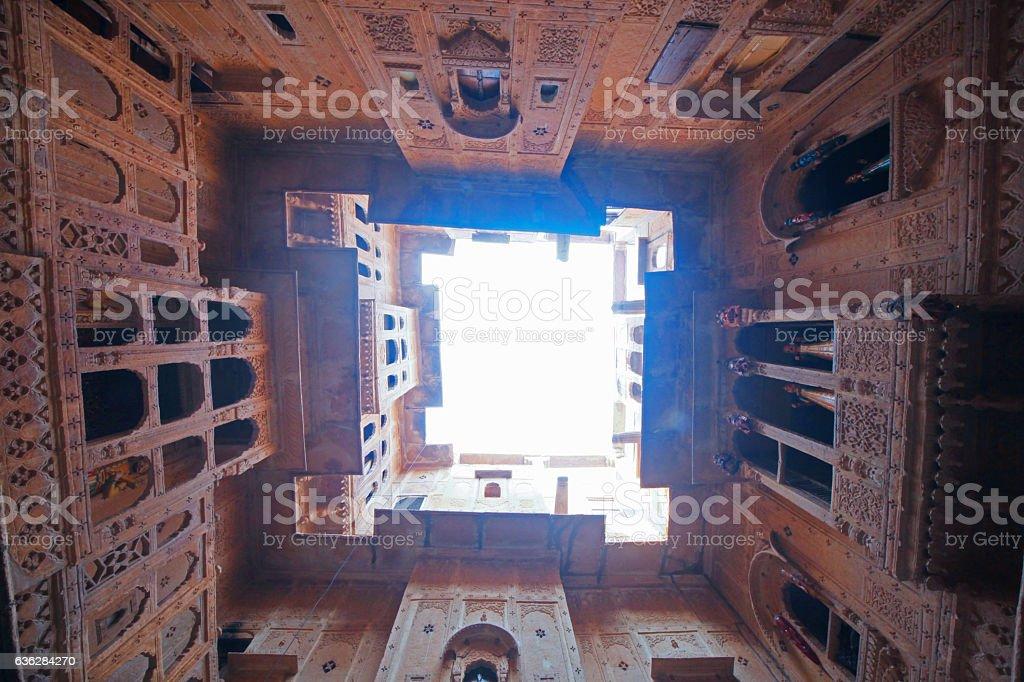 amazing architectue at the Patwon Ki Haveli, jaisalmer, rajasthan, india stock photo