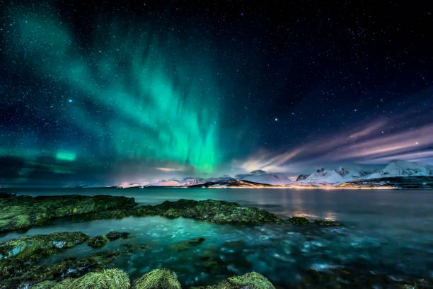 amazing aurora borealis - northern lights - view from coast in oldervik, near tromso city -  north norway - aurora boreale foto e immagini stock