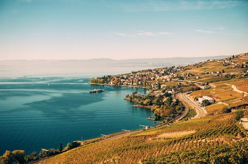 Amazing autumn landscape of Lavaux vineyards swiss riviera Lausanne area canton of Vaud Switzerland
