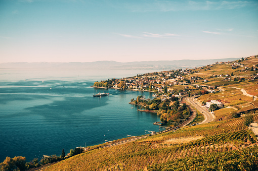 Amazing autumn landscape of Lavaux vineyards swiss riviera Lausanne area canton of Vaud Switzerland