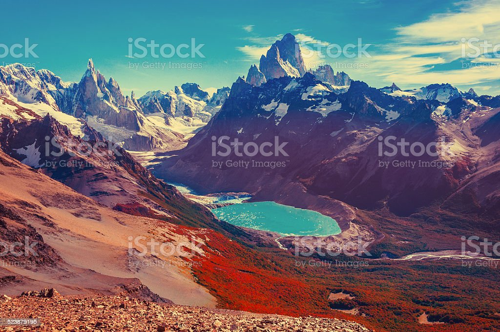 Amazing autumn landscape with Fitz Roy and Cerro Torre mountains. stock photo