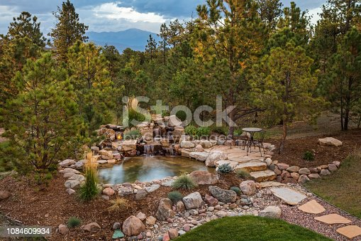 Cascading water feature into a pond