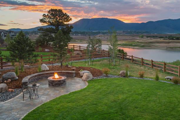 Amazing Backyard with Fire Pit stock photo