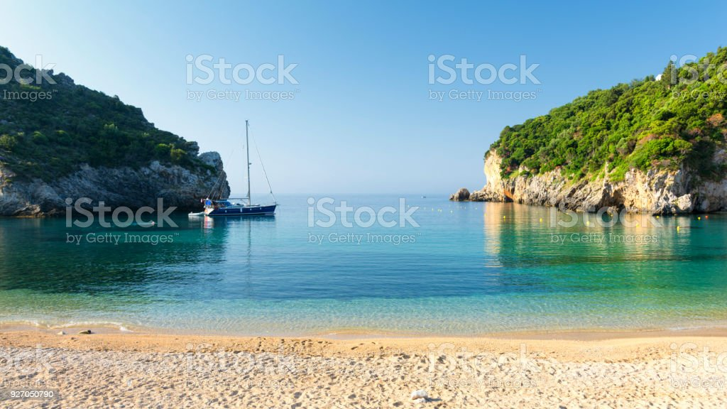 amazing beach in Paleokastritsa on Corfu island, Greece stock photo