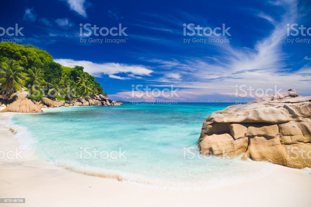 Amazing beach on Seychelles stock photo