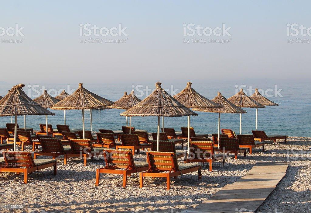 Amazing beaches of Dhermi, Albania stock photo