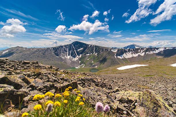 Amazing beautiful mountain lake landscape. Altay. Russia. Terekt stock photo