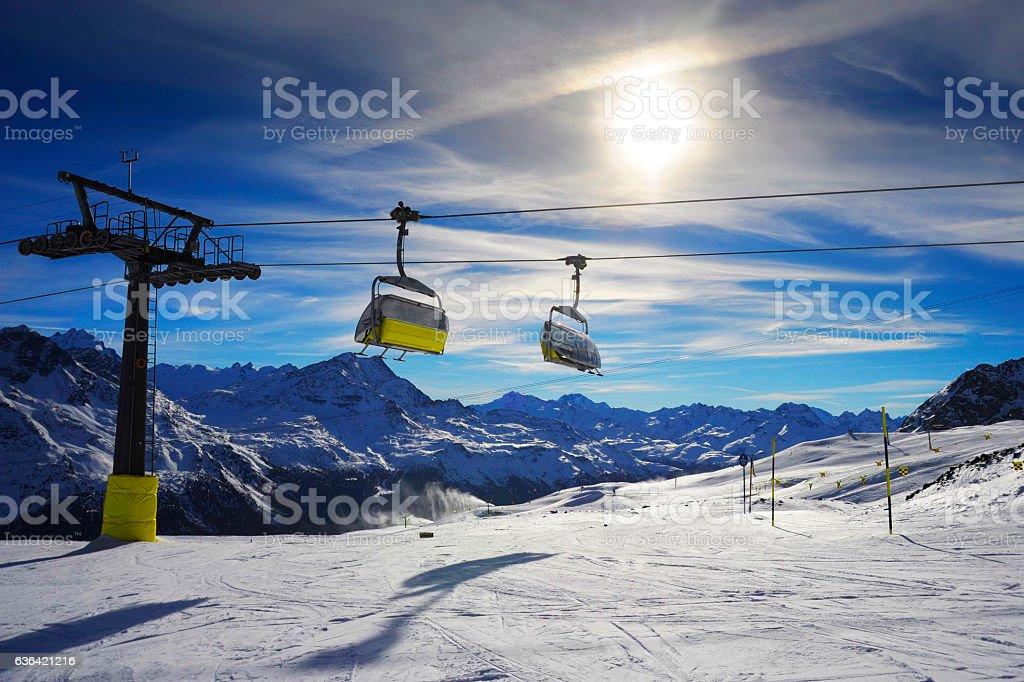 amazing beautiful view of Saint Moritz ski resort in Switzerland stock photo