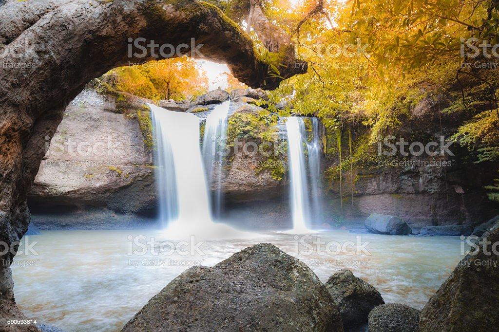 Amazing beautiful waterfalls in autumn deep forest stock photo