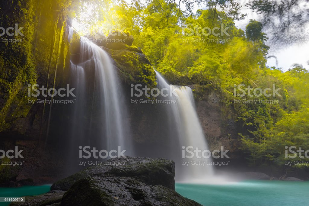 Amazing beautiful waterfalls in autumn forest stock photo