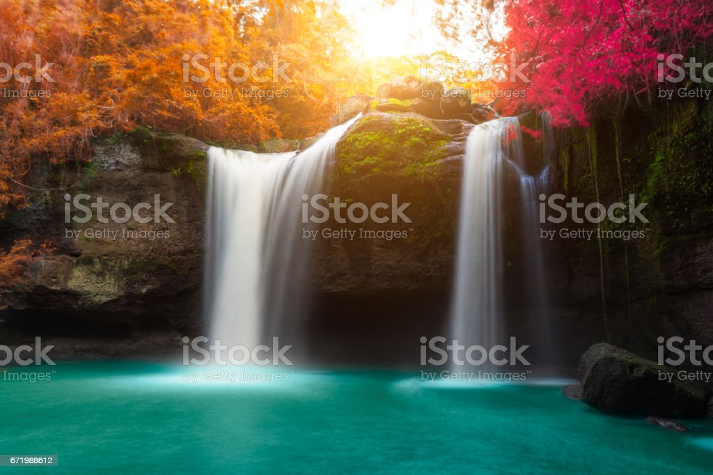 Amazing beautiful waterfalls in autumn forest stock photo