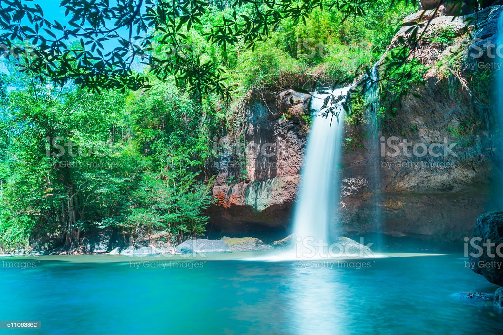 Amazing beautiful waterfalls in deep forest at Haew Suwat Waterfall stock photo