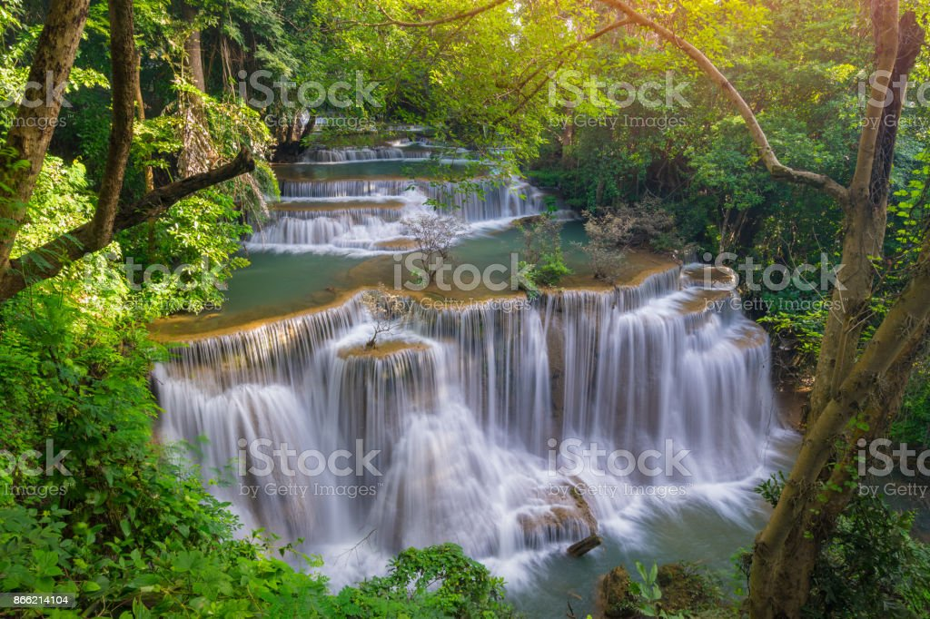 Amazing beautiful waterfalls in tropical forest at Huay Mae Khamin Waterfall Level 4 stock photo