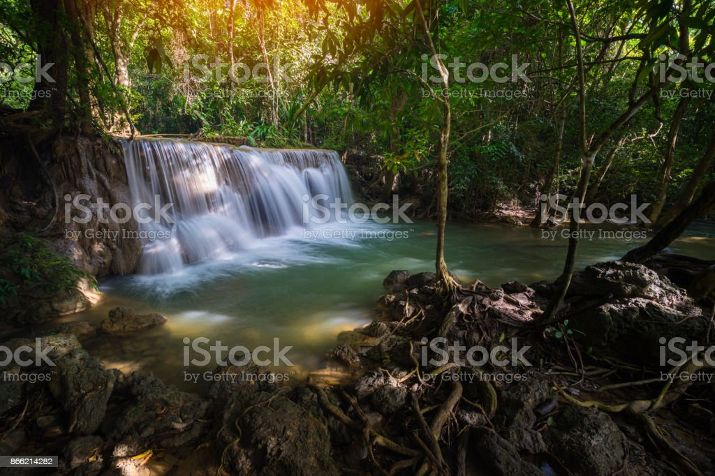 Amazing beautiful waterfalls in tropical forest at Huay Mae Khamin Waterfall stock photo