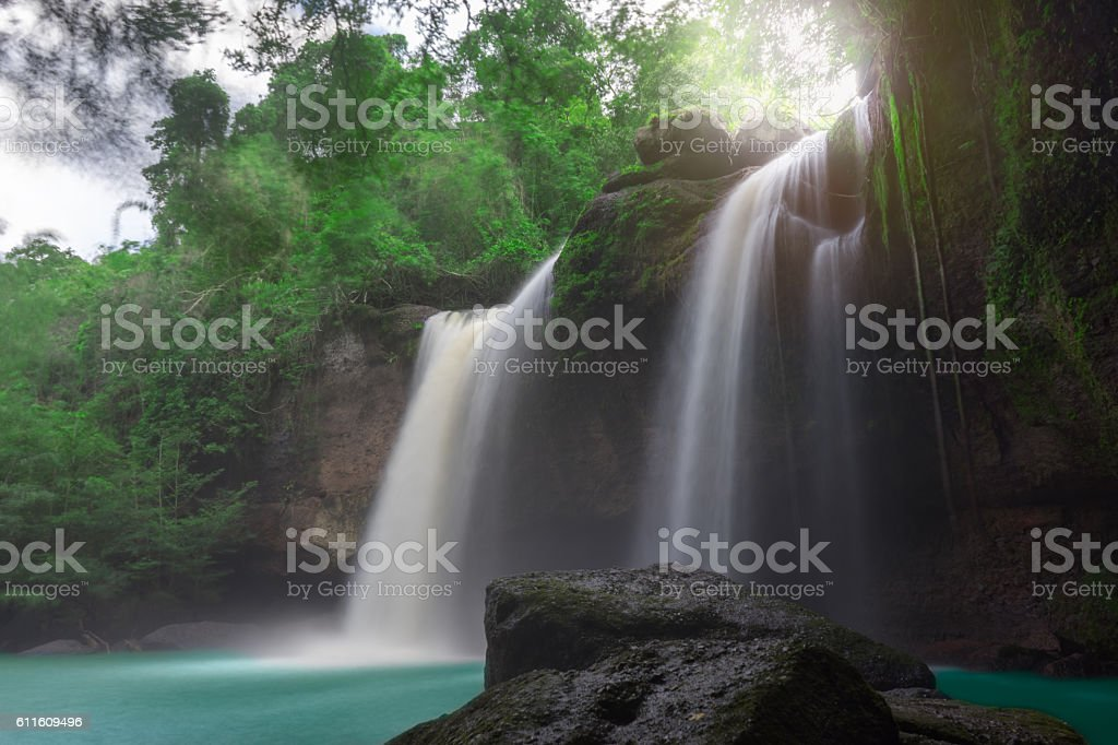 Amazing beautiful waterfalls in tropical forest stock photo