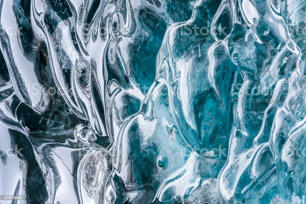 Amazing blue ice textura wall in the cave. Hofn. Iceland stock photo