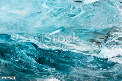 Amazing blue ice textura wall in the cave. Hofn. Vatnajokull Glacier. Iceland
