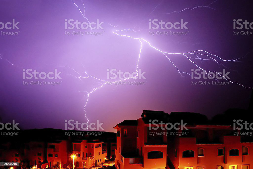 Amazing bolt of lightening at night in Spain royalty-free stock photo